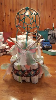 Dream Catcher and Arrow Diaper Center Piece - Baby Shower Decors Arrow Baby Shower, Boho Baby Shower, Baby Shower Games, Baby Shower Parties, Baby Boy Shower, Bolo Fack, Hippie Baby, Bohemian Baby, Baby Room Colors