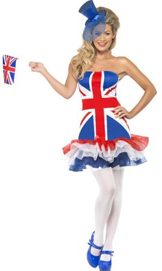 Fever Rule Britannia Fancy Dress Costume - Funny Costumes at Escapade™ Costumes For Sale, Funny Costumes, Cool Costumes, Halloween Costumes, England Costume, Union Jack Dress, Fancy Dress Ball, Patriotic Outfit, Iconic Dresses