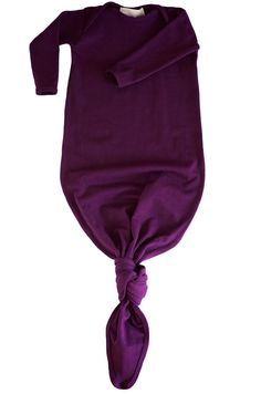 knotted baby gown in aubergine - restocking in february!