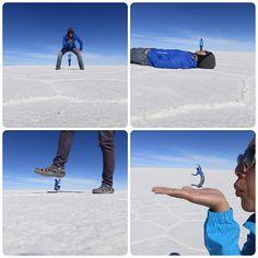 The vast salt flats of Salar de Uyuni, Bolivia offer the perfect backdrop for photographs that fool the eye.