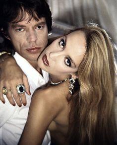 Jerry Hall and Mick Jagger, Fall Glam Rock Jerry Hall, Mick Jagger, Bianca Jagger, Elsa Peretti, Carolina Herrera, Beautiful People, Beautiful Women, Beautiful Models, 1970s