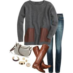 """gray, cognac"" by shopwithm on Polyvore"
