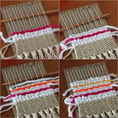 Loom Craft, Crafts For Kids, Diy Crafts, Textiles, Weaving Art, Recycle Plastic Bottles, Diy Pillows, Weaving Techniques, Clothes Hanger
