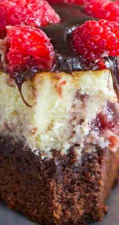 Brownie Bottom Raspberry Cheesecake