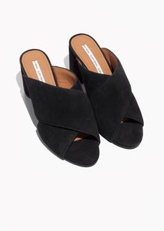 & Other Stories image 2 of Suede Cross Strap Mule in Black