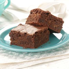 Caramel Toffee Brownies Recipe -I love to make up recipes for foods that I am craving, such as chocolate, toffee and caramel. They came together in this brownie for one sensational treat. I frequently make these to add to care packages for family and friends.—Brenda Caughell, Durham, North Carolina