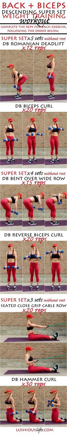 Back + Biceps Descending Super Set {weight training} Workout    lushiousLIFTS.com
