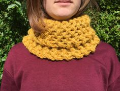 Super chunky cowl 😍 available in the shop right now and ships in ONE business day! So if you're quick, it'll be on its way to you tomorrow 🥳 so go go go! Crochet Gifts, Knit Crochet, Baby Cardigan, Knitting Designs, Hand Knitting, Cowl, Knitted Hats, Knitwear, Hands