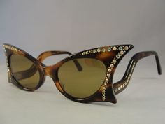 Vintage 50's Cat Eye Sunglasses L Evrard Tortoise Rhinestone Twe Rockabilly | eBay
