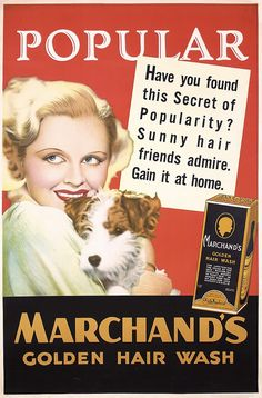 Original 1930s Marchands Hair Wash Advertising Pos - by PosterConnection Inc.
