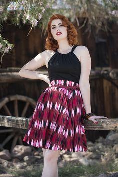 Laura Byrnes California Little Jun Skirt in Brown Harlequin Print