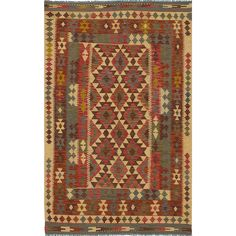 ecarpetgallery Handmade Anatolian and Brown Kilim Rug