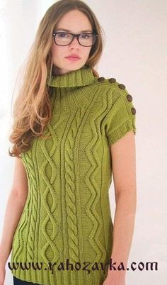 Пуловер с коротким рукавом спицами. Женский пуловер спицами | Я Хозяйка
