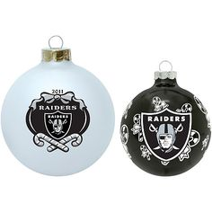 Oakland Raiders Round Glass Ornaments