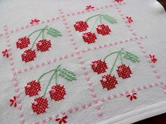 Cherry cross stitched tea towel <3  #Cherry #TeaTowel #CrossStitch