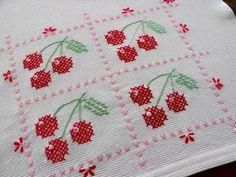 Cherry cross stitched tea towel <3  #Cherry #TeaTowel #CrossStitch