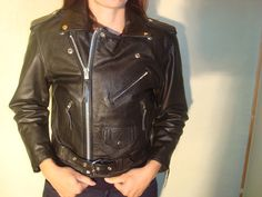 1980's Leather Jacket Motorcycle Cropped by juliasvintagecloset, $85.99