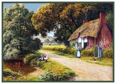 Fishing For Lunch English Country Cottage Strachan Counted Cross Stitch Pattern