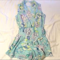 HOST PICK 5/22 Tea n Cup Floral Belted Romper HOST PICK 5/22 WARDROBE REFRESH PARTY   JUST 1 LARGE AND 2 SMALLS LEFT!!  •Perfect for spring and summer!  •Front pockets.  •Shorts are lined.  •True to size.   I tried one on and it is super comfy and cute. I am really wanting to keep one for myself!   Price is firm unless bundled. NO TRADES Tea n Cup Pants Jumpsuits & Rompers
