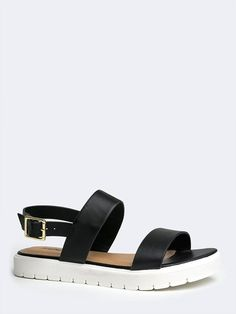 - Hit the beach or the streets - these sandals are fly enough to take anywhere! - Features vegan leather straps with a slingback design and buckle closure on the side. Sporty, low platform has just th