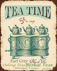 Featured Art - Vintage Tea Time Sign  by Jean Plout