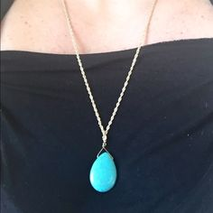 Gold Plated Turquoise Drop XL Necklace Simple gold plated turquoise drop XL necklace that measures approximately 28 inches and is finished with a lobster clasp. The clasp is not working, it's just there for the necklace feel. KSAR Jewels Jewelry Necklaces