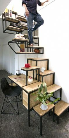 The Only Staircase Youâll Need ComesWith Shelves a Cupboard and a Desk -  Cities are getting more overcrowded by the minute. That means increased rent, smaller spaces, and more cramped apartments all throughout. Its probably with this in
