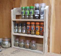 Rustic Spice Shelf / Kitchen Spice Rack / Herb shelf / kitchen spice shelf - 3 finishes - Natural / Medium oak / Dark oak