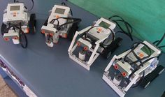 """Lego Mindstorms NXT Robots ready for the """"clear the bricks from the circle"""" competition."""