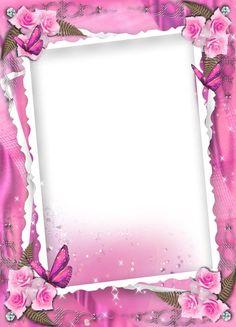 Transparent pink wedding frame with roses Boarders And Frames, Page Borders Design, Printable Frames, Photo Frame Design, Art Carte, Birthday Frames, Frame Background, Photoshop, Frame Clipart