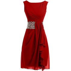 Sunvary 2015 Short Cocktail Dresses Mother of the Bride Dresses... ($28) ❤ liked on Polyvore featuring dresses, short dresses, red, short mother of the bride dresses, short red cocktail dress, mother of the bride dresses, red mini dress and chiffon mini dress