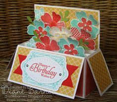 Horizontal pop up card in a box & template instructions by Di Barnes, with Flower Shop, Petite Petals & Chalk Talk stamps. #cardinabox