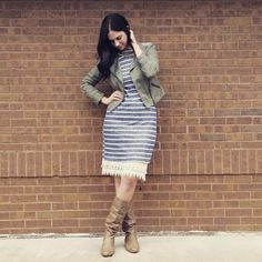 For added length to a dress, add a lacy slip. #layers #stripes #fall #boots