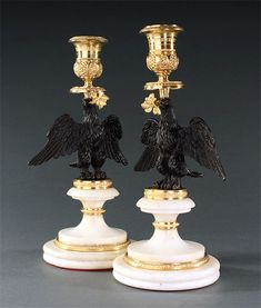 Pair of Regency Candlesticks in Form of Eagles. Candelabra, Candlesticks, Napoleon, Regency, Eagles, Lamps, Candle Holders, Sculpture, Lightbulbs