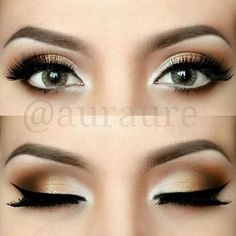 bronze makeup fro eyes, would look nice with navy ball/ prom dress: