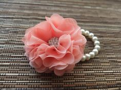 Wrist Corsage Chiffon Flower Corsage Coral by LoveMimosaFleur, $15.50