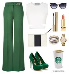 """Going Green"" by nycfashionista ❤ liked on Polyvore featuring BCBGMAXAZRIA, RED Valentino, Steve Madden, H&M, New Directions, Oscar de la Renta, Tory Burch, Dolce&Gabbana and Yves Saint Laurent"