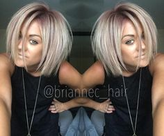 Dusty Pink Shadow Root Bob