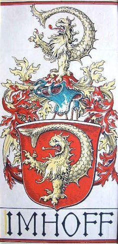 """Wappen des Geschlechts """"Imhoff"""" (Imhof) -- (Woodcut) Holzschnitt in 4 Farben von Otto Hupp; 29 x 13,5 cm; (aus dem """"Mchn. Kalender"""" von 1919). -- Double"""