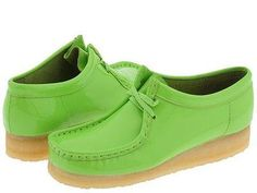 Clarks of England Lime Green Fluorescent Patent Leather Wallabees Shoes