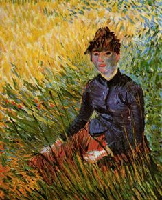 "Woman Sitting in the Grass 1887. The painting exemplifies Van Gogh's stylistic experimentation following his exposure to the French Impressionists and Post-Impressionists. ""I have made a series of color studies in painting… seeking oppositions of blue with orange, red and green, yellow and violet seeking les tons rompus et neutres to harmonize brutal extremes. Trying to render intense color and grey harmony.......in color seeking life the true drawing is modelling with color."""