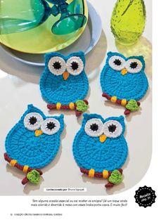 crochet owl These would make Crochet Owls, Crochet Diy, Crochet Potholders, Crochet Home, Crochet Gifts, Crochet Animals, Crochet Applique Patterns Free, Crochet Motifs, Crochet Doilies