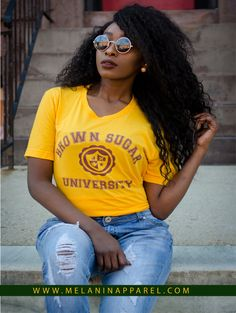 """""""Brown Sugar University"""" black pride t-shirt, hoodie, and more available now. Please visit www.melaninapparel.com"""