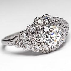 Old Euro Diamond 1930's Engagement Ring w/ Accents Platinum