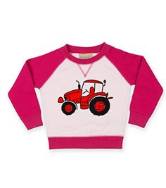 Fuchsia & White Contrast Children's Sweatshirt 'TRACTOR' (DESIGN 2) IMAGE ONLY.