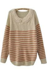 Pink Lace Lapel Long Sleeve Striped Pullovers Sweater $32.48