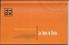 Cano Olmedo, Beatriz, LAS FURIAS DE ELECTRA,  Ñaque Editora, 2013, ISBN: 978-84-96765-56-6