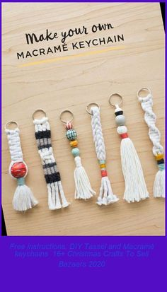 Download free instructions for macramé keychains. Get inspired to make easy braided and tassel keyrings for keys, backpacks, luggage tags, purses, and more. #instructions: #keychains #Macramé #Tassel #Free christmas crafts to sell bazaars Free instructions: DIY Tassel and Macramé keychains 16+ Christmas Crafts To Sell Bazaars 2020 Diy Tassel, Tassels, Christmas Crafts To Sell Bazaars, Make Your Own, How To Make, Keychains, Make It Simple, Keys, Backpacks