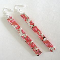 Pink Blossoms Long Paper Earrings