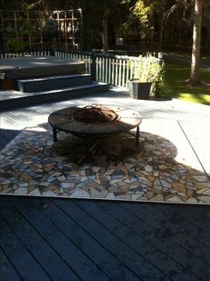 This Mosaic Tile Will Safe Your Wooden Deck From Any Woo Sparks Etc If You Want A Fire Pit On You Deck 2 4x8 She With Images Backyard Landscaping Diy Deck Deck